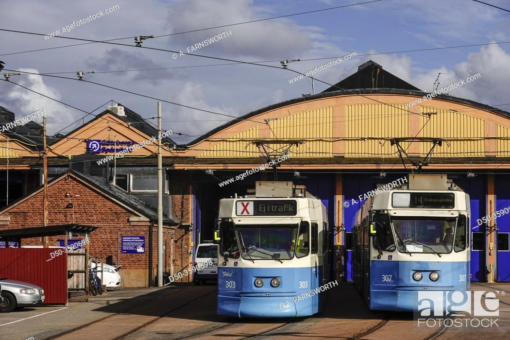 Stock Photo: Gothenburg, Sweden A tram depot and trams.