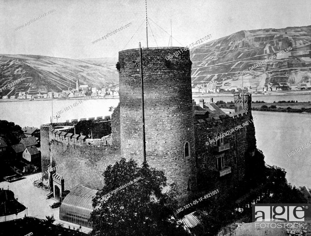 Stock Photo: Early autotype of castle hoheneck in the rhine valley, near niederheimbach, germany, 1884.