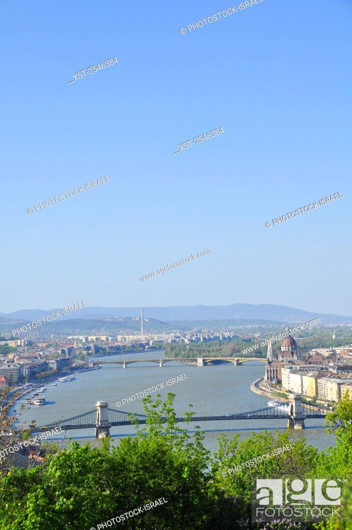 Stock Photo: Hungary, Budapest, The Danube River The Chain Bridge.