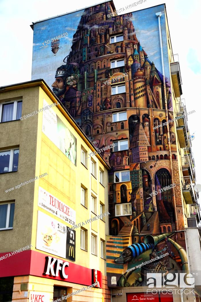 Stock Photo: Mural painting on the wall of apartment building in the city center of Czestochowa, Czestochowa, Silesian Voivodeship, southern Poland, Poland, Europe.