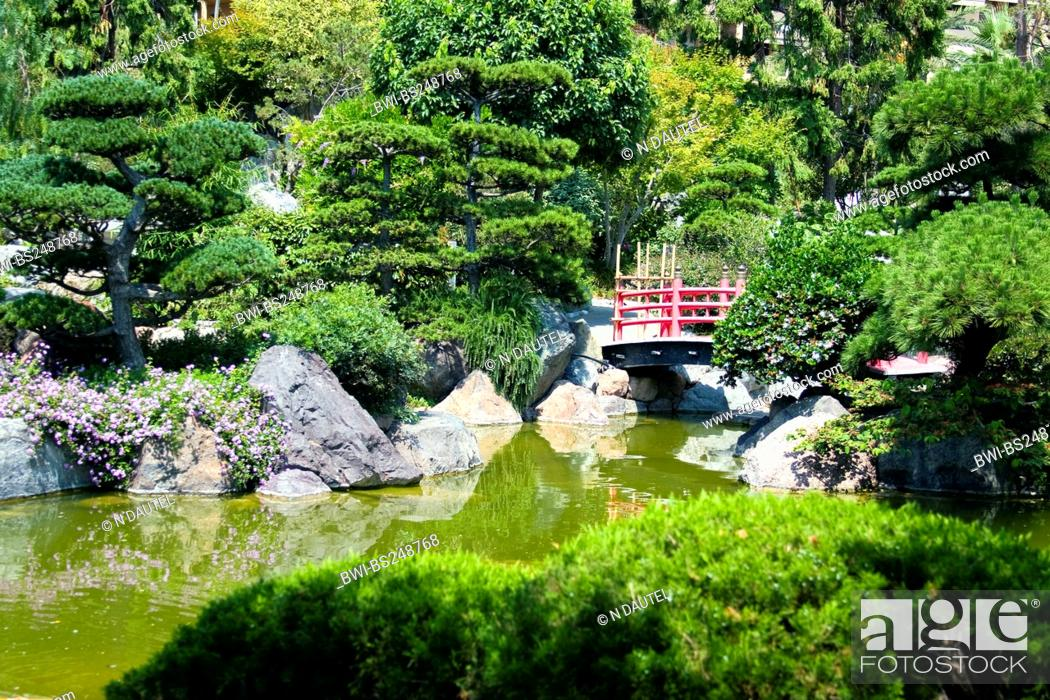 Stock Photo: traditional Japanese garden with wooden red bridge, France, Monaco.