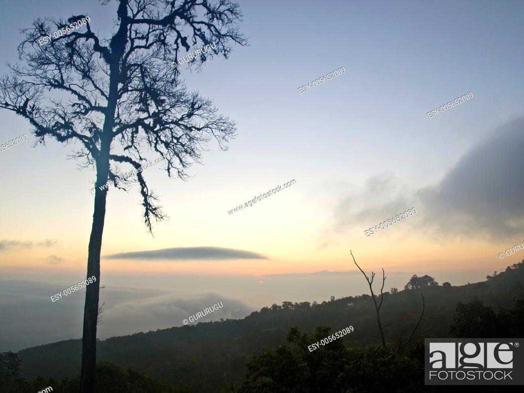 Stock Photo: Sun rise from Chaeng hill, Chiang rai Thailand.