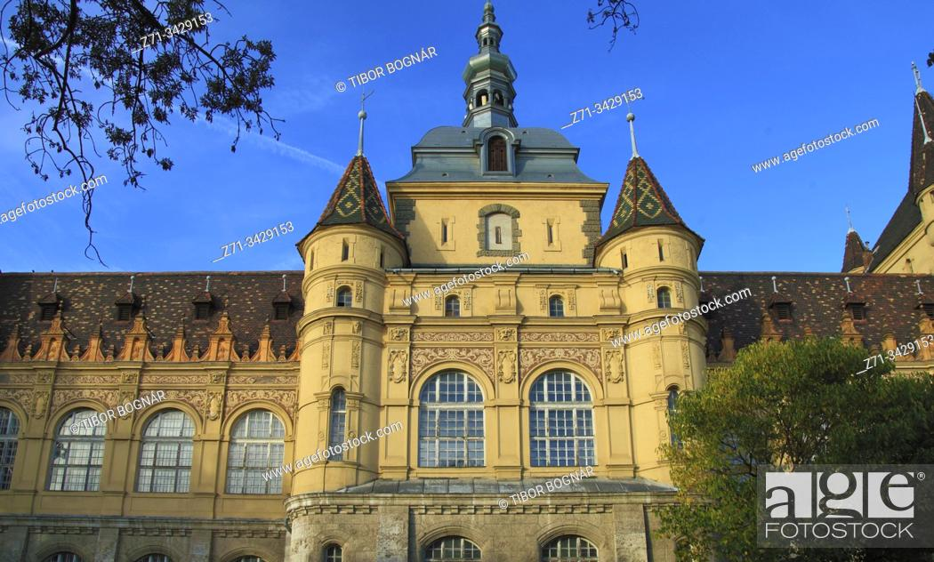 Stock Photo: Hungary, Budapest, City Park, Vajdahunyad Castle.