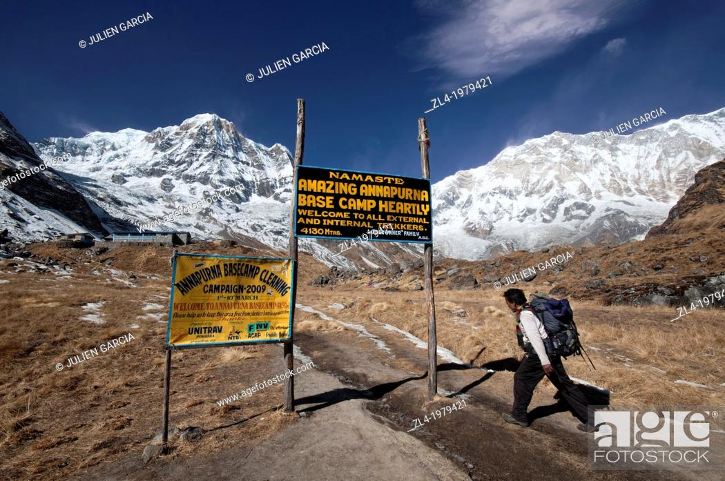 Stock Photo: Nepali trekker reaching the Annapurna Base Camp at 4130m altitude. Nepal, Gandaki, Annapurna, Annapurna Base Camp.