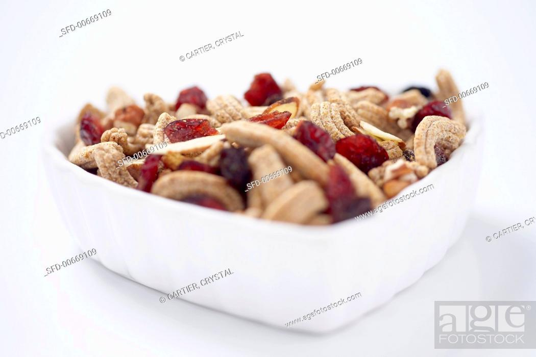 Stock Photo: Close Up of a Small Bowl of Fruit and Fiber Cereal.