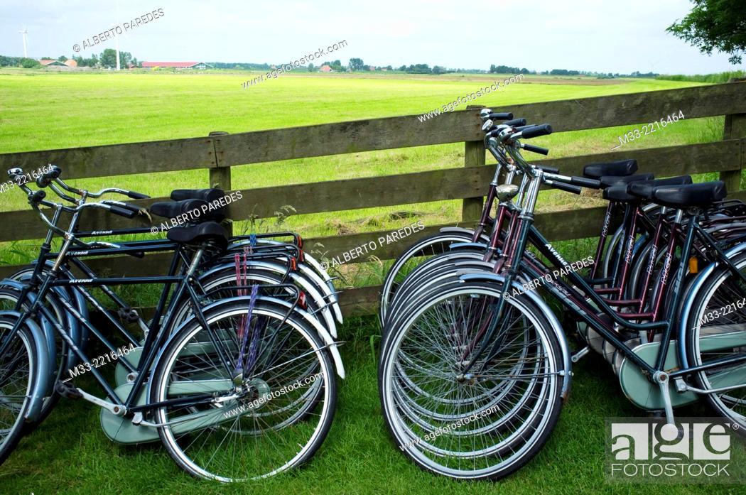 Stock Photo: Bikes, Friesland province (Fryslan), Netherlands.