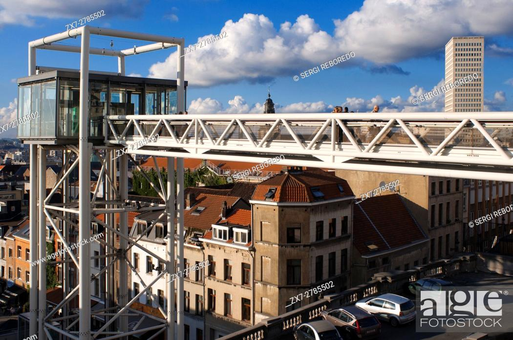 Stock Photo: Marolles panoramic lift. Place Poelaert, Brussels, Belgium. (Every day from 7:00 to 23:00 / free). <M> Louise. To bridge the gap that separates Marolles in the.