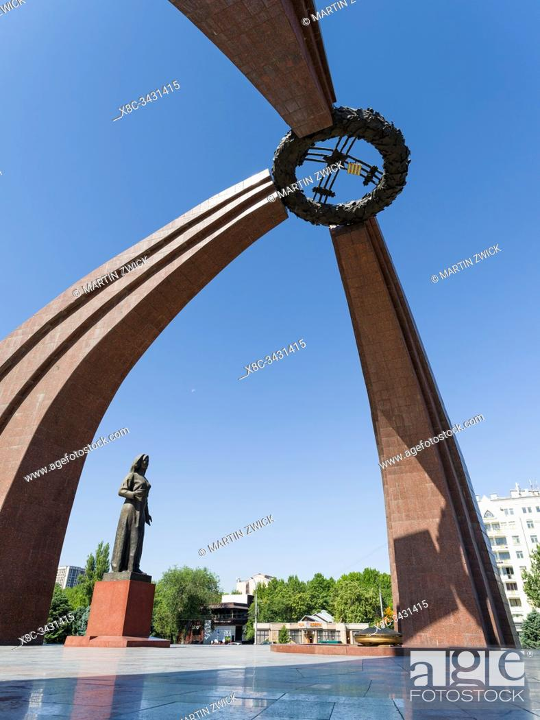 Stock Photo: The victory square and the big memorial commemorating the great patriotic war, 2. world war. The capital Bishkek . Asia, Central Asia, Kyrgyzstan.
