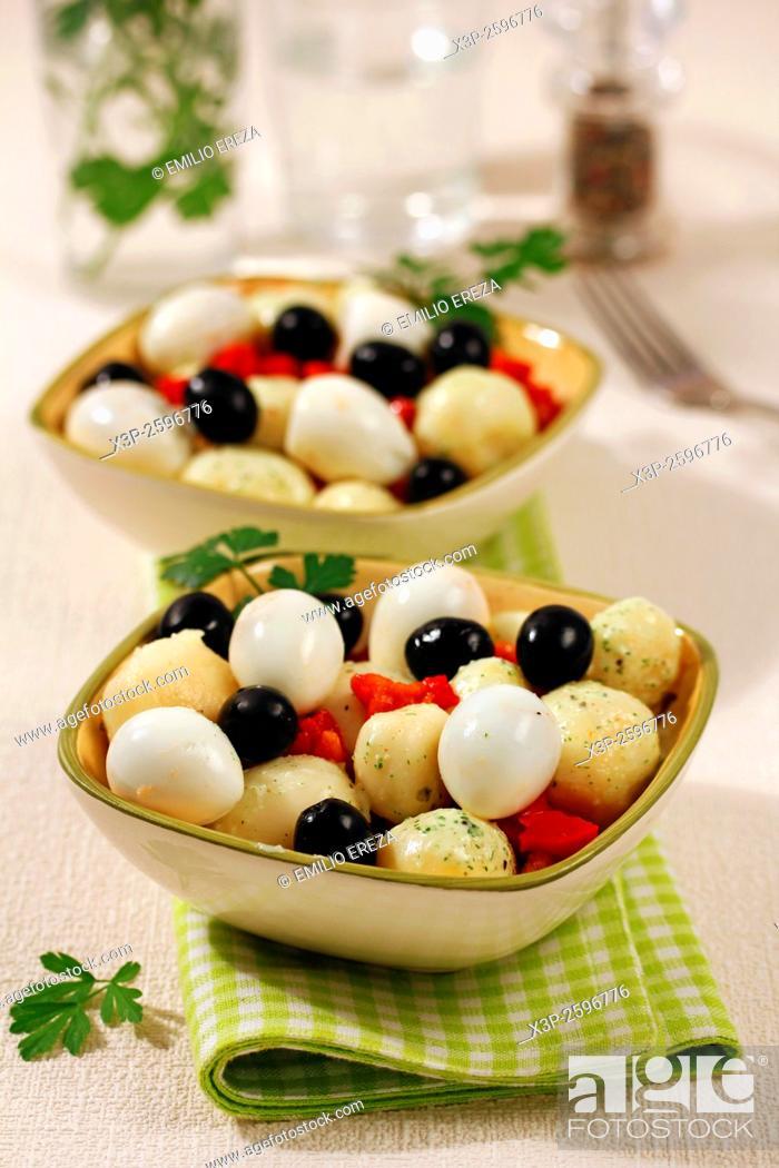 Stock Photo: Light salad with little potatoes and yogurt.