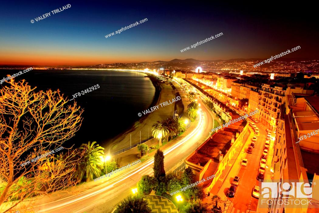 Stock Photo: Top view above Nice city at night, Alpes-Maritimes, Côte d'Azur, French Riviera, France.