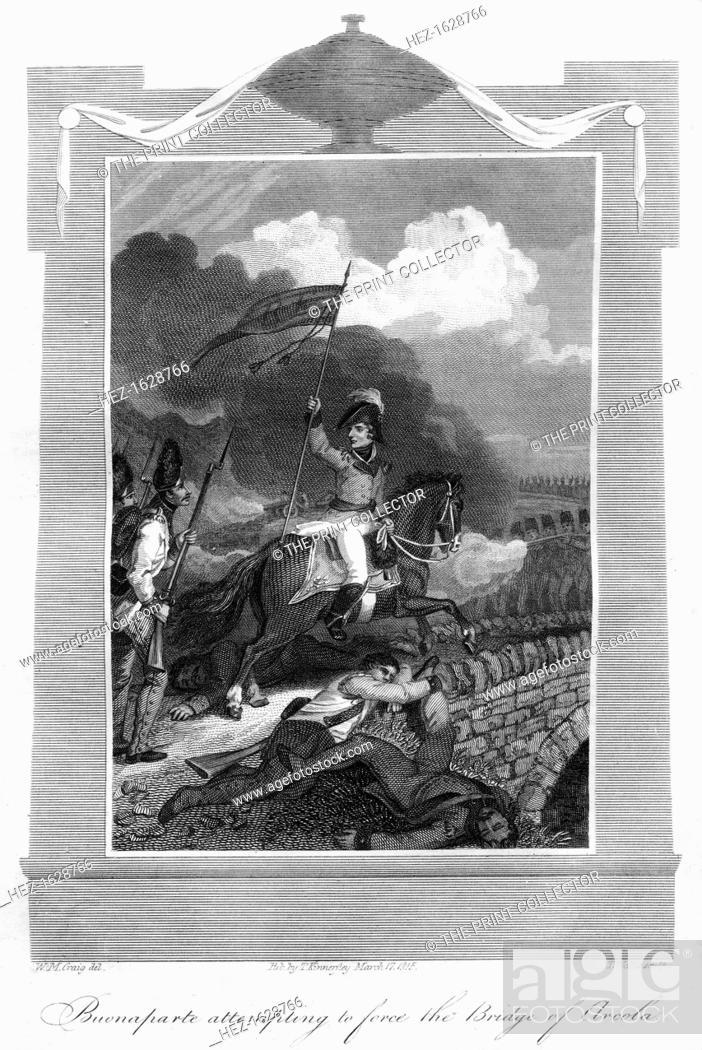 Stock Photo: Napoleon Bonaparte attempting to force the bridge of Arcola, 1816. The imperial dictatorship of Napoleon (born Napoleone di Buonaparte.