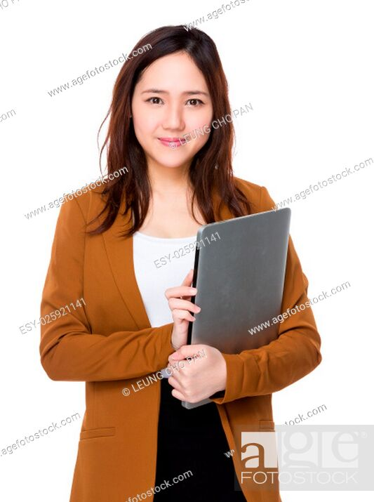 Stock Photo: Young businesswoman hold with laptop computer.