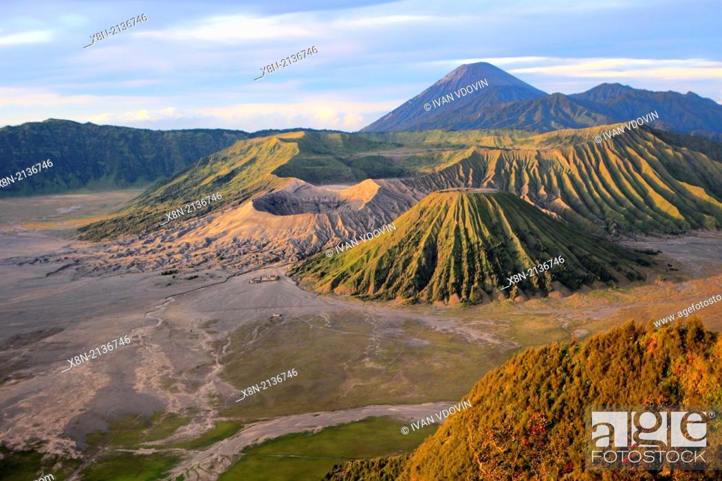 Stock Photo: Sunset view of mount Bromo from Penanjakan mountain (2770 m), Bromo Tengger Semeru National Park, Java, Indonesia.