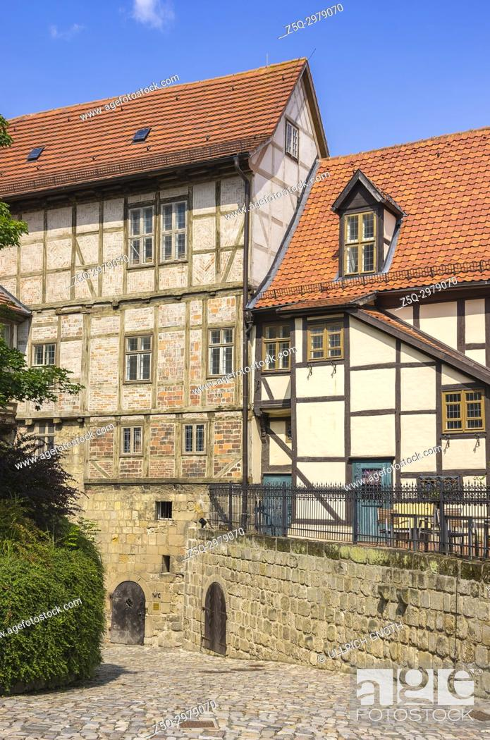 Stock Photo: Castle and Monastery buildings on Schlossberg in Quedlinburg, Saxony-Anhalt, Germany.