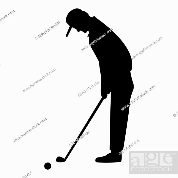 Stock Vector: Golfer it is the black color icon .