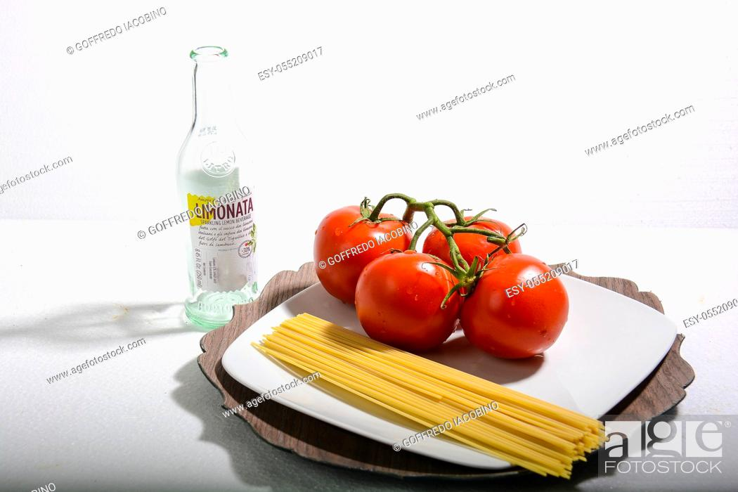 Stock Photo: spaghetti and tomato italian recipe.