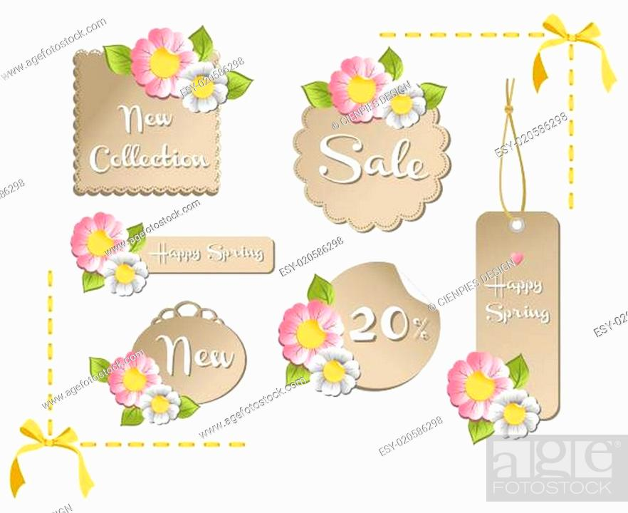 Stock Photo: Happy spring sale tag collection.