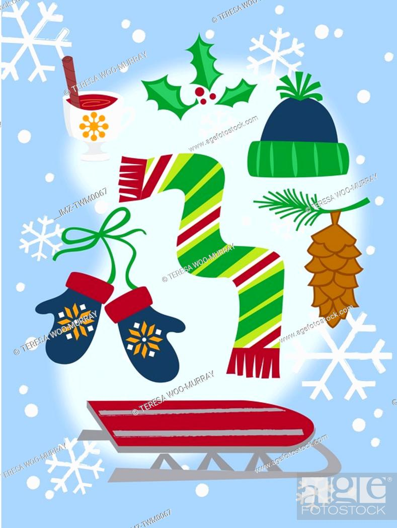 Stock Photo: A collection of winter themes Christmas icons including a sled, gloves, scarf, snow, holly branch and pine cone.