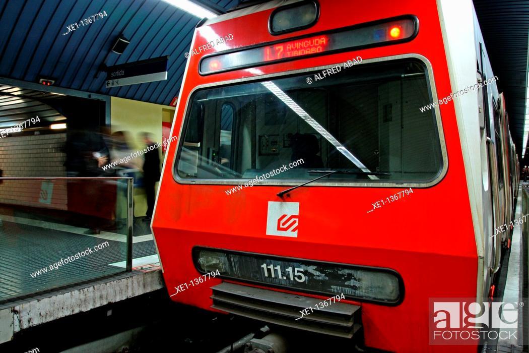 Stock Photo: platform from Av Tibidabo's railways stop (FGC), Barcelona, Catalonia, Spain.