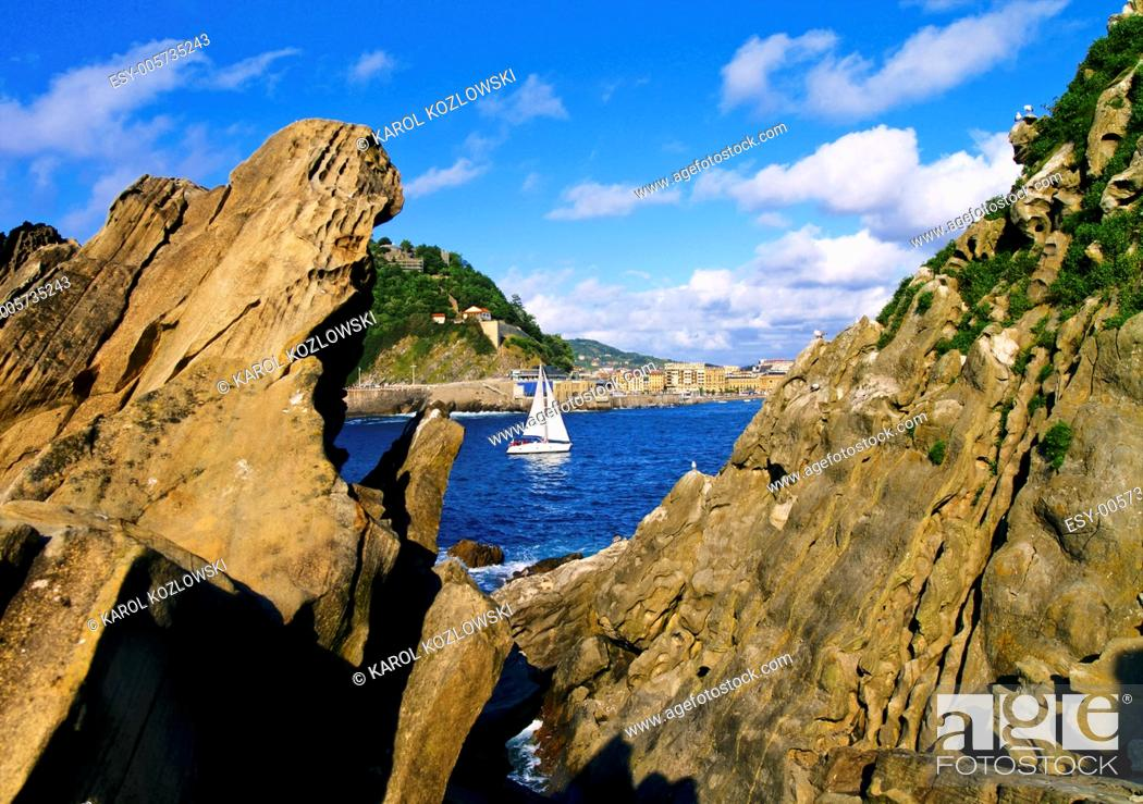 Stock Photo: View from Santa Clara Island in Donostia - San Sebastian, Basque Country, Spain.