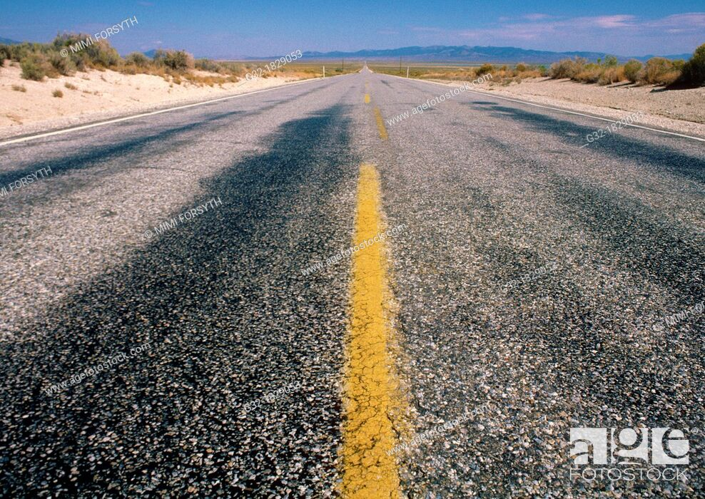Stock Photo: Nevada road, long & straight.