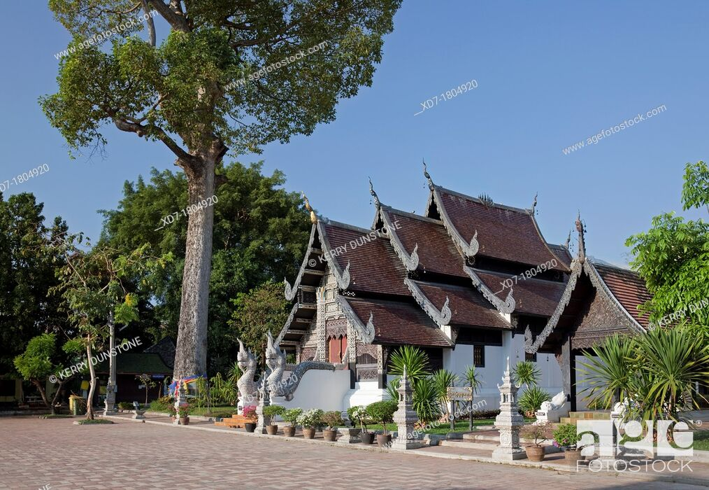 Stock Photo: Wooden building holding the Venerable Acharn Mun Bhuridatto Vihara, Wat Chedi Luang, Chiang Mai, Thailand.