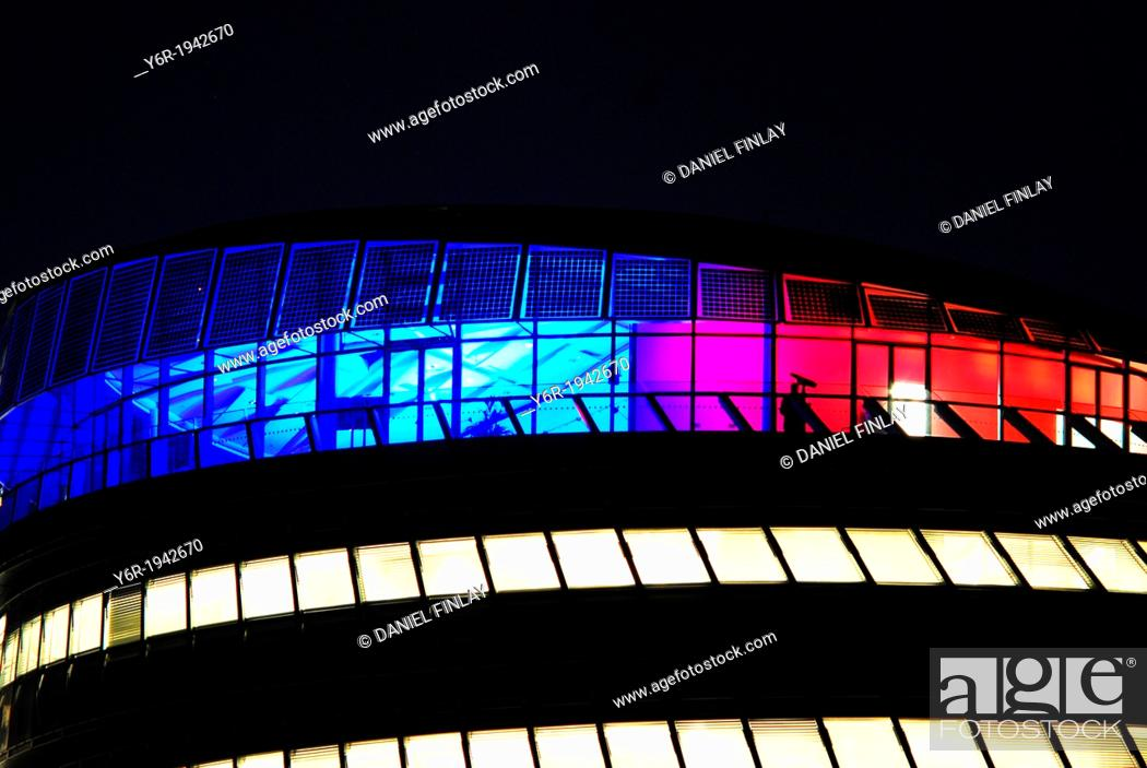 Stock Photo: London City Hall at night on the banks of the River Thames close to Tower Bridge in London, UK.