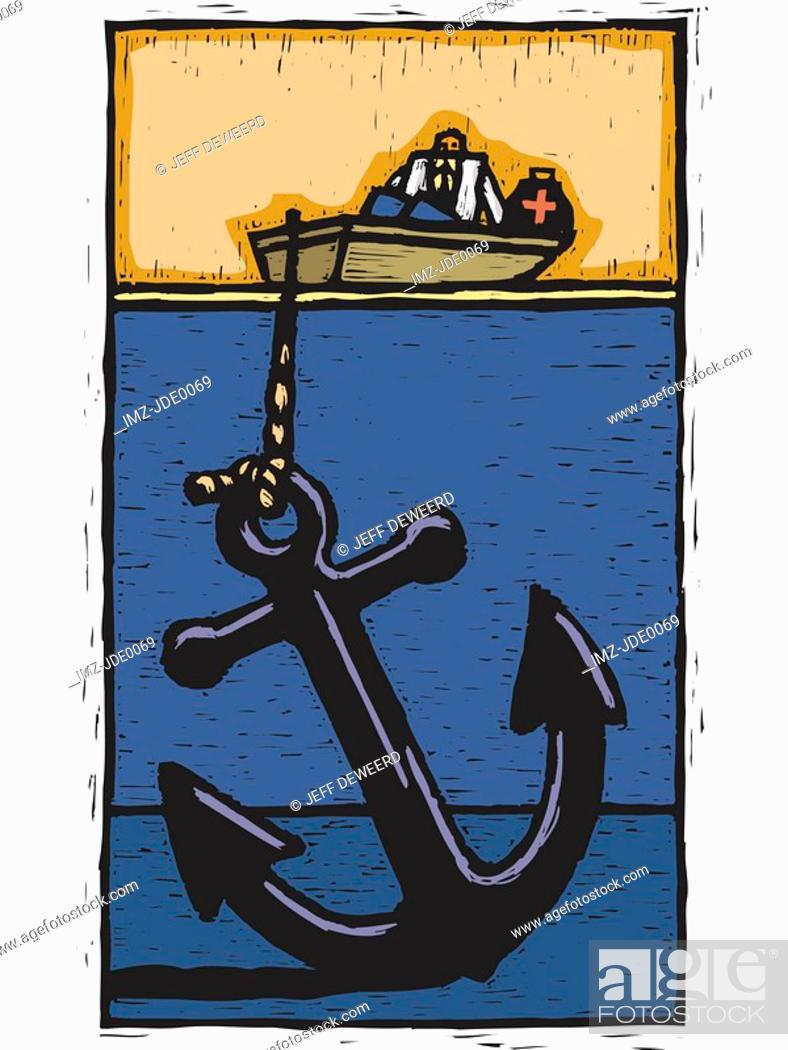 Stock Photo: A doctor on a rescue boat with a large anchor.