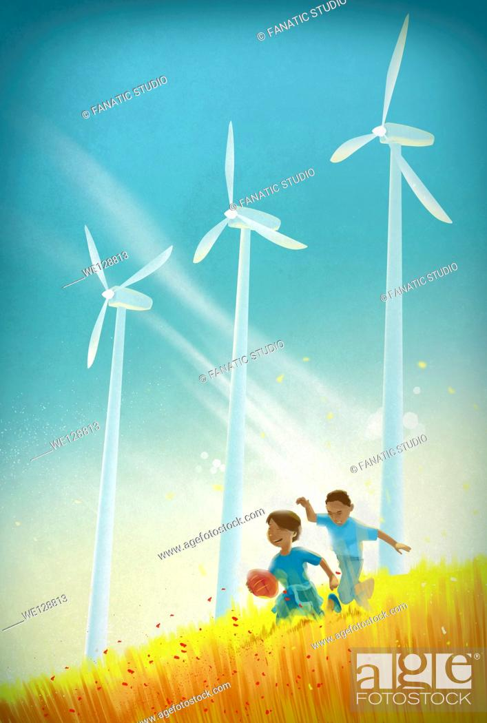 Stock Photo: Illustration of boys playing with rugby ball in field against wind turbines.