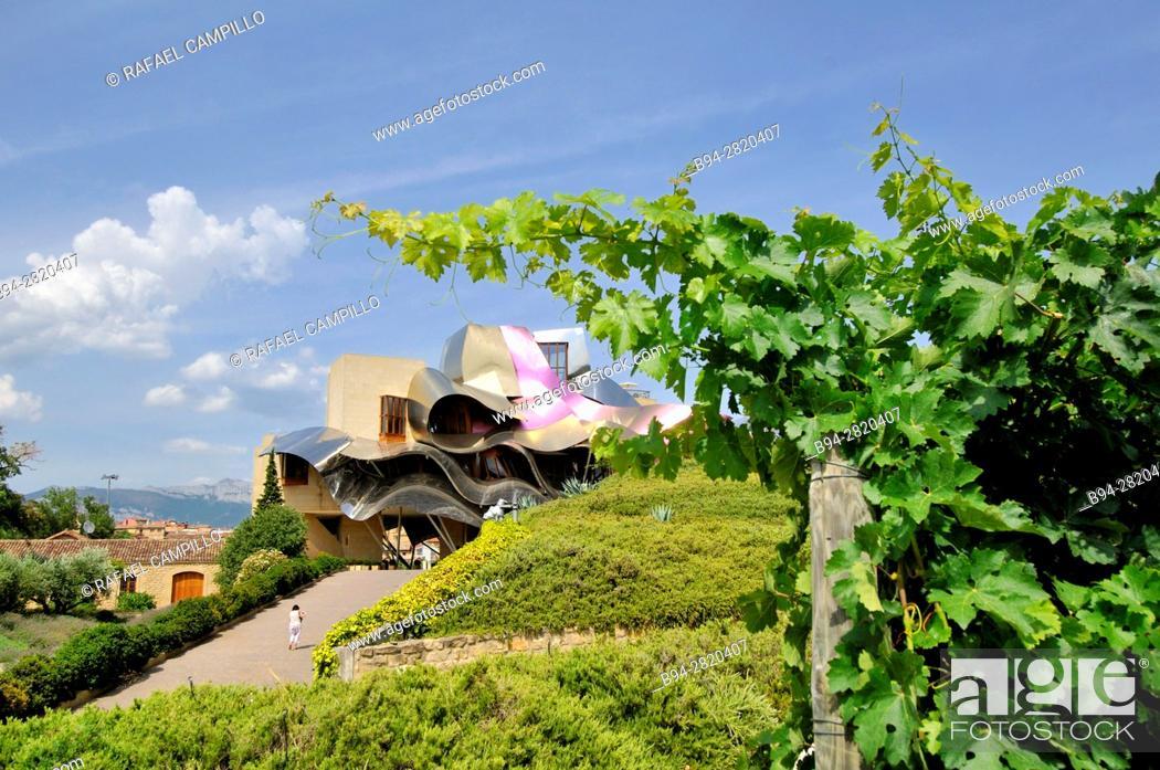 Stock Photo: Hotel designed by Frank Gehry, Marques de Riscal, Elciego, Rioja Alavesa, Araba, Basque Country, Spain.