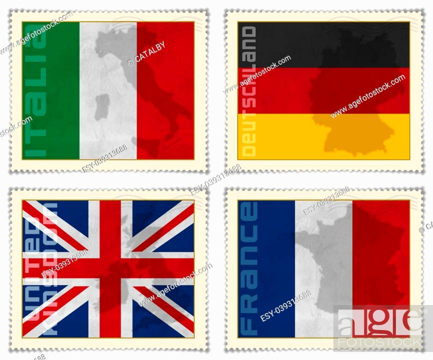 Stock Photo: 4 European flags on stamps: Italian, German, English and French.