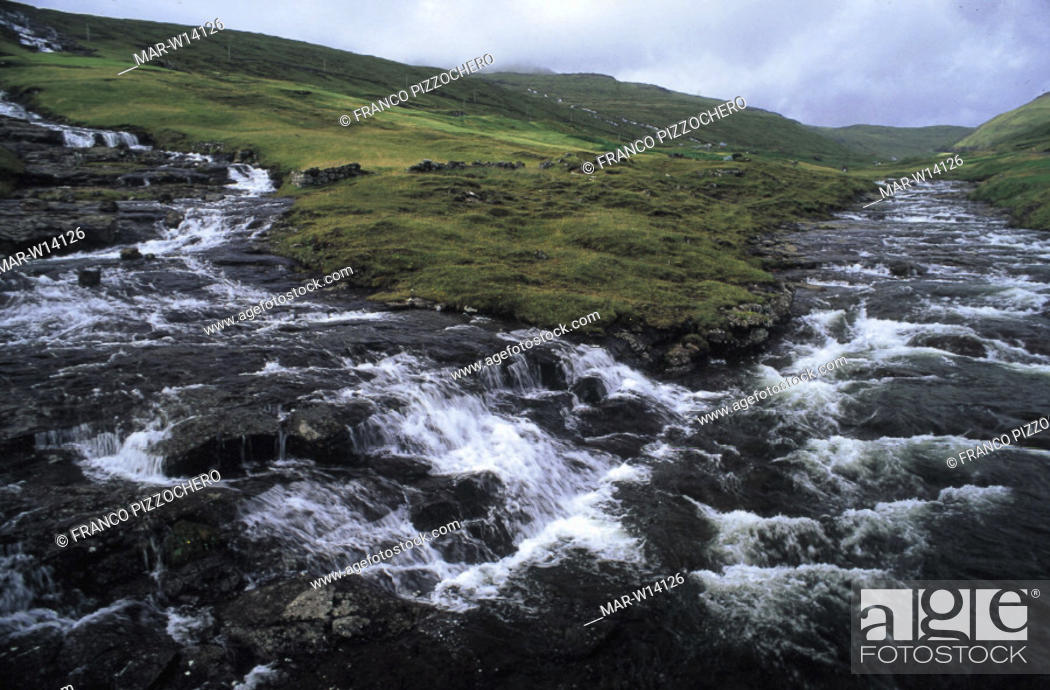 Stock Photo: denmark, faroe islands, vagar island.