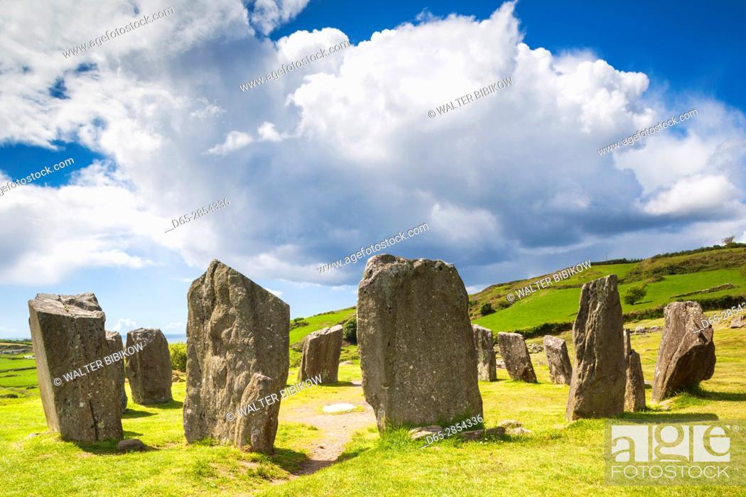 Stock Photo: Ireland, County Cork, Drombeg, Drombeg Stone Circle, 5th century.