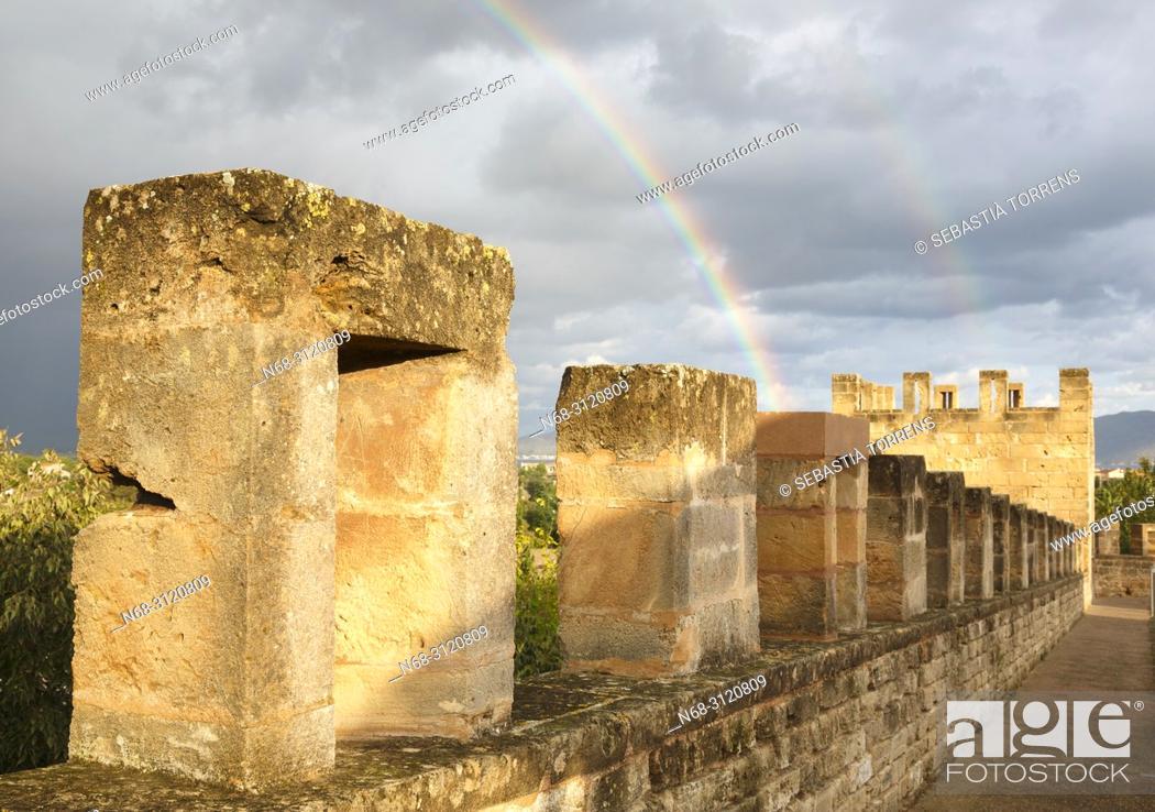 Stock Photo: Alcudia walls and rainbow, Majorca, Balearic Islands, Spain.