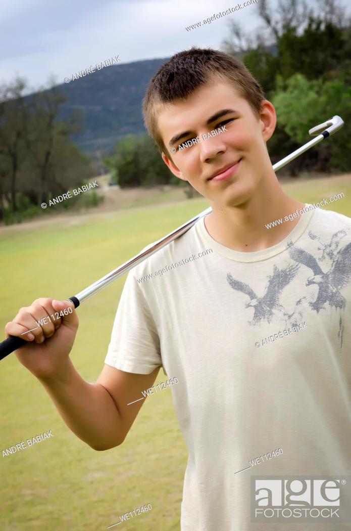 Stock Photo: Teenage golf player.