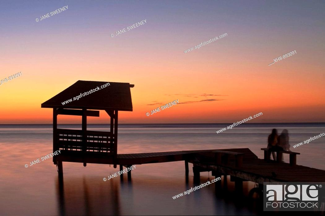 Stock Photo: Jetty at sunset, West End, Roatan, Bay Islands, Honduras.