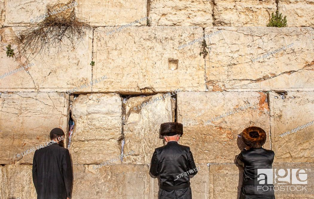 men's prayer area, men praying at the Western Wall, Wailing