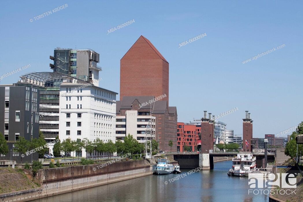 Stock Photo: outer harbour and inner harbour of Duisburg, Duisburg, Ruhr area, North Rhine-Westphalia, Germany, Europe.