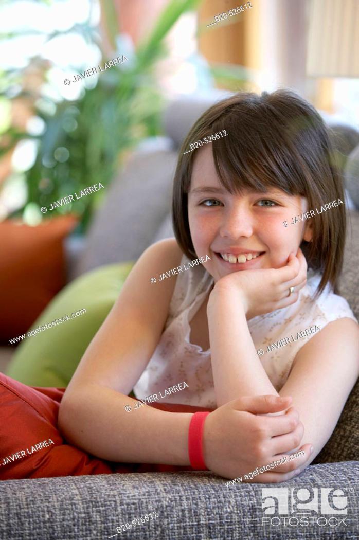 Stock Photo: Nine years old girl. Gipuzkoa, Euskadi. Spain.