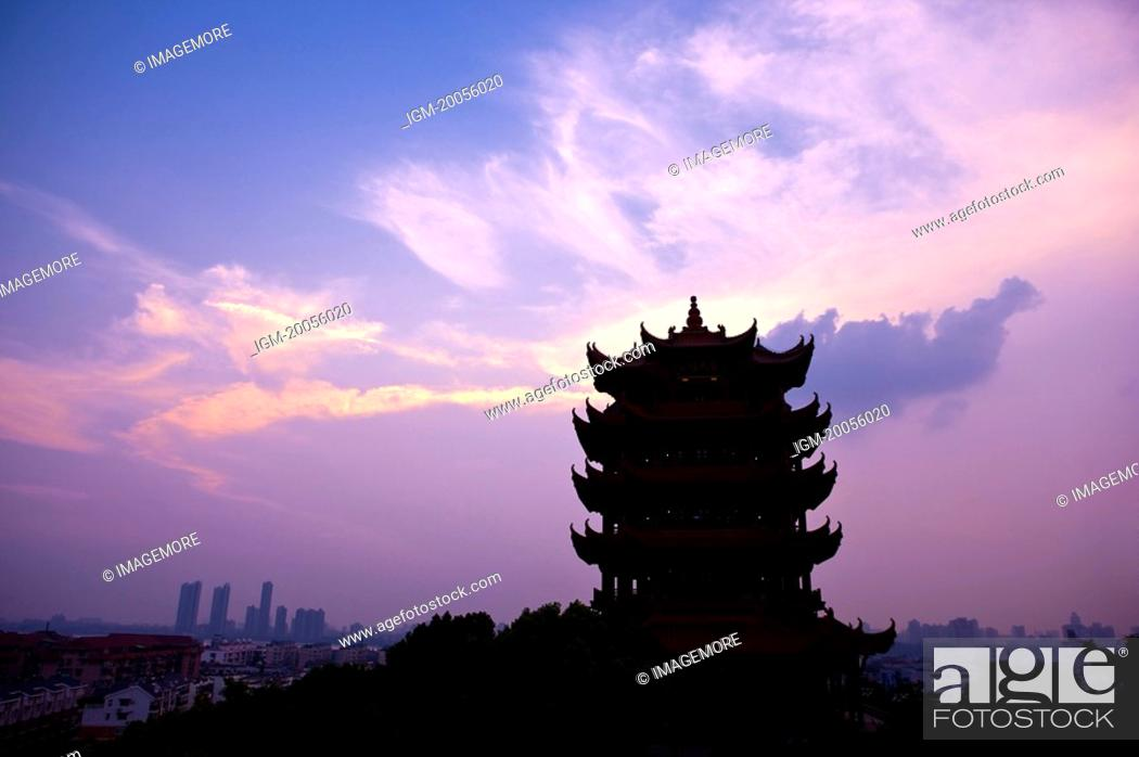 Stock Photo: China, Hubei Province, Wuhan, Wuchang, Yellow Crane Tower.
