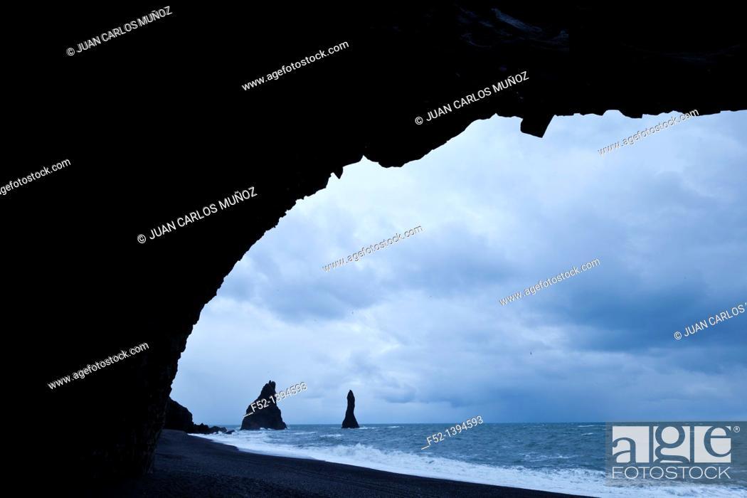 Stock Photo: Reynisdrangar, Vik, Southern Iceland, Iceland, Europe.