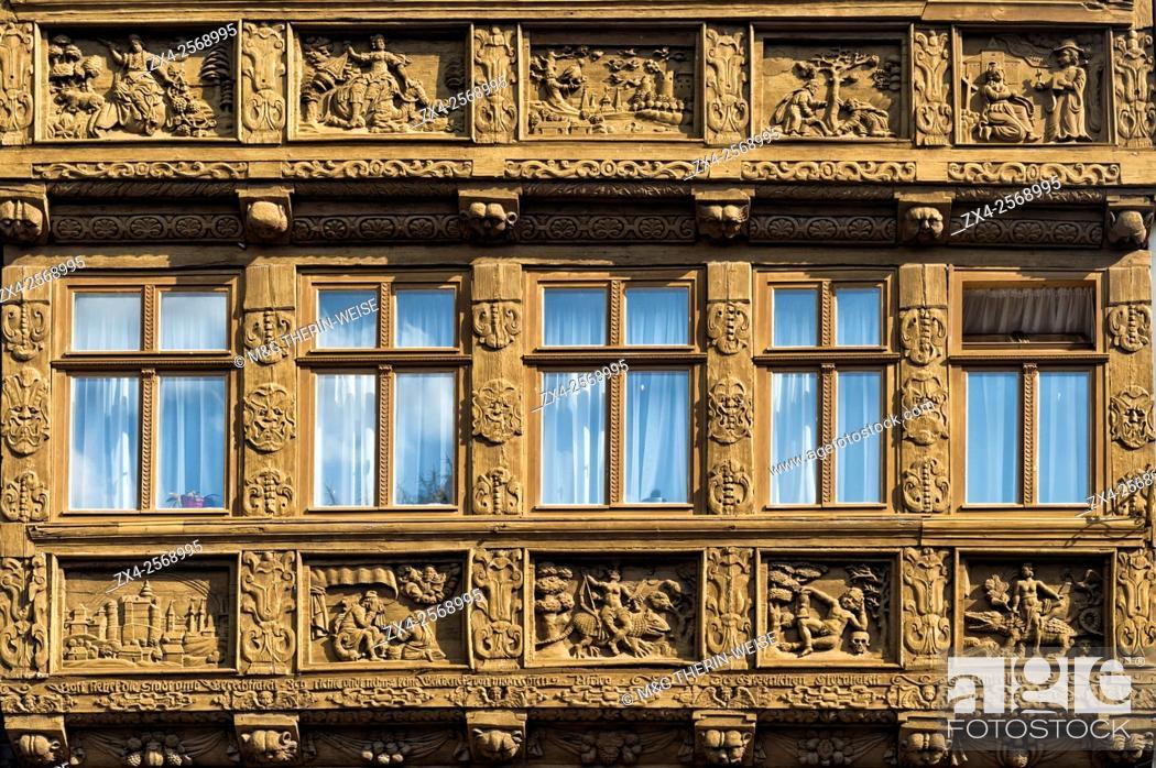 Stock Photo: Decorative facade of a cafe, Wernigerode, Harz, Saxony-Anhalt, Germany.