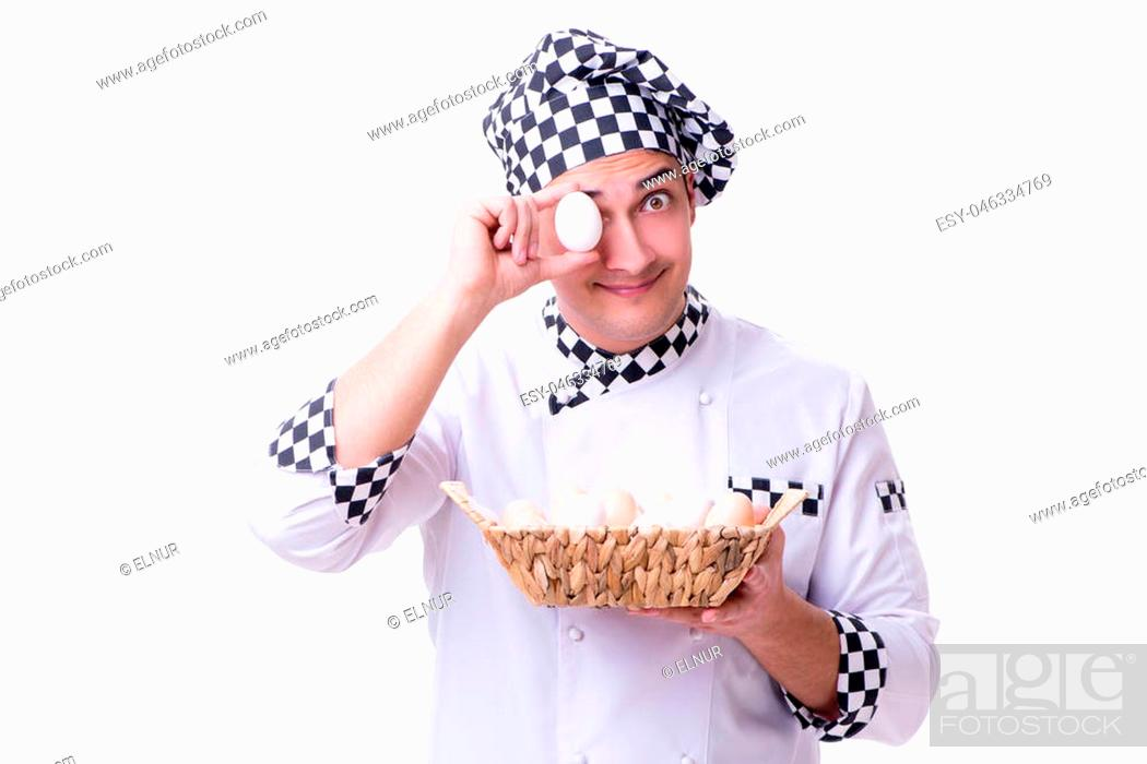Stock Photo: Chef with a basket of eggs.