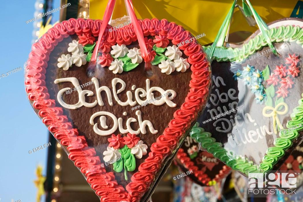 Stock Photo: Red and Green Gingerbread hearts with I love You, Oktoberfest, Munich, Germany.