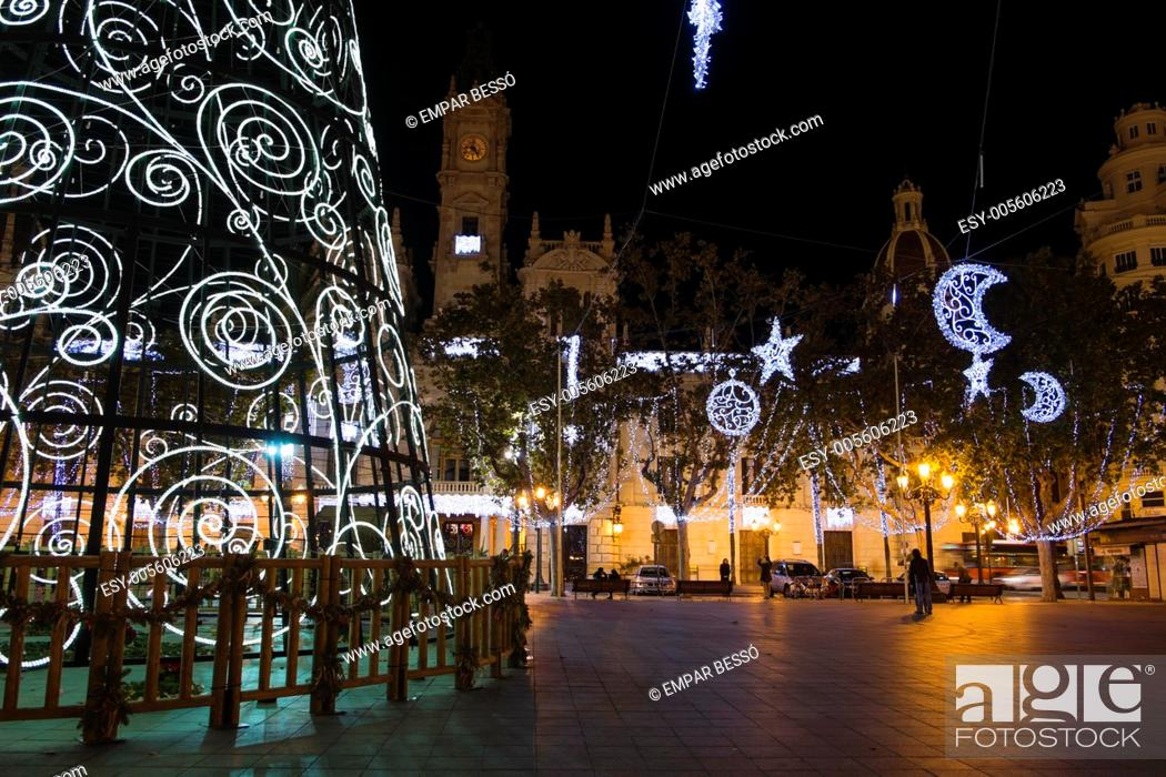 Stock Photo: Christmas in Valencia, Town Hall square. Spain.