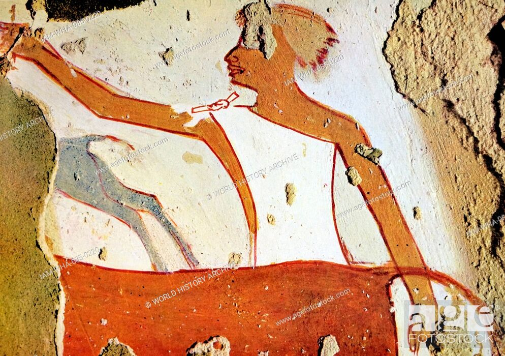 Stock Photo: Egyptian tomb wall painting from Thebes, Luxor. Dated 11th Century BC.