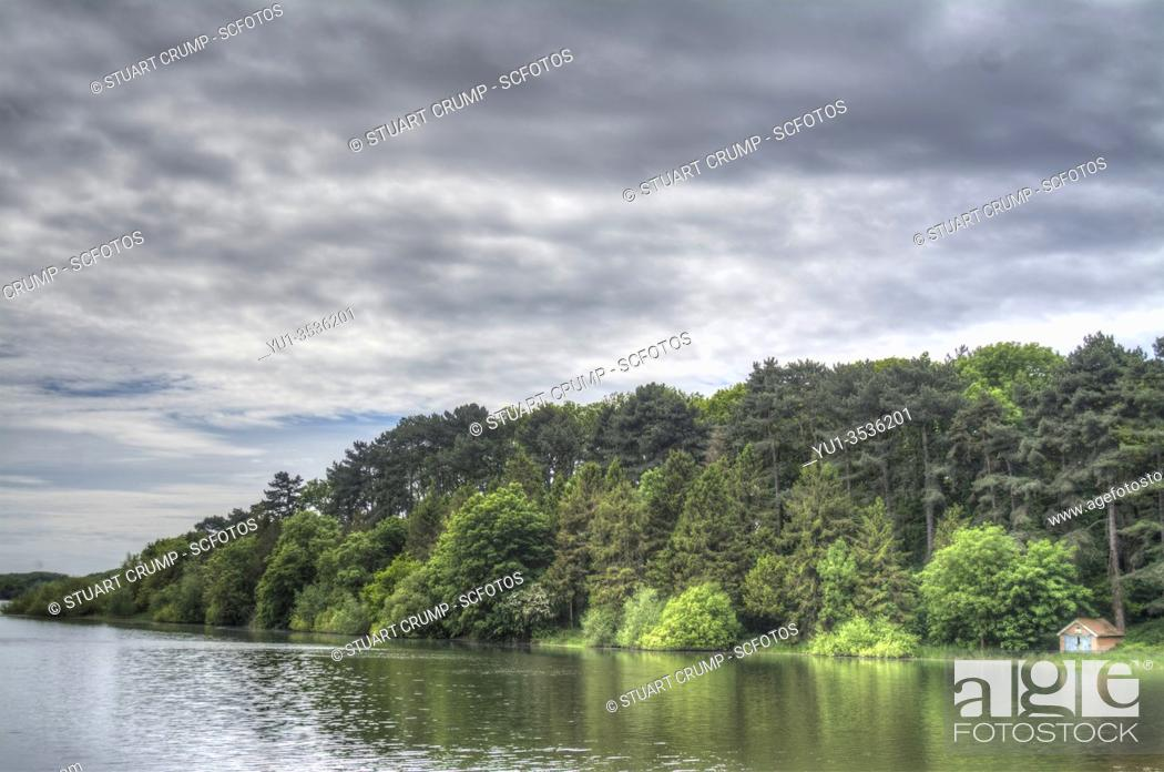 Stock Photo: HDR image of Swithland Reservoir and Surrounding Woodland in Leicestershire.
