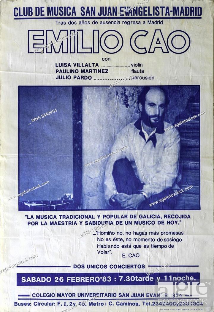 Imagen: Emilio Cao, Madrid 1983 tour, Musical concert poster.