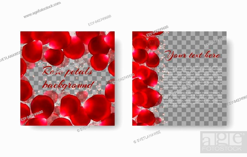 Stock Vector: Background with red flying rose petals for romantic greeting cards with Mother's Day and St. Valentine's Day.