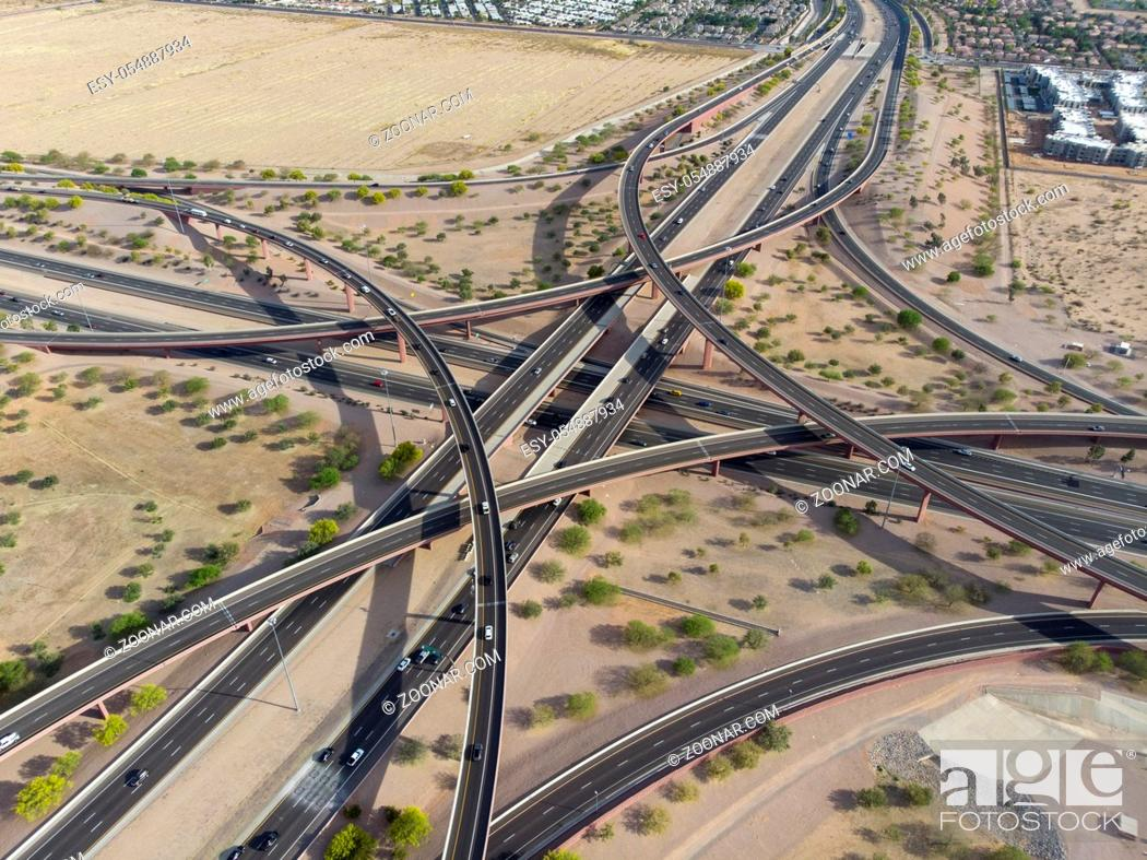 Stock Photo: Overview of a major interstate in the United States.